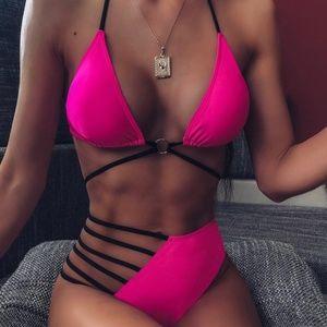 NWT SHEIN pink strappy bikini
